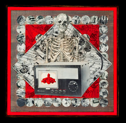 Marco Logsdon. Red Vertebrae Front and Back.  Collage on Wood. Front only.jpg