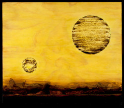 Marco Logsdon. Tar Landscape with Chartreuse Sky (2 Moons). Oil, Tar and Resin o