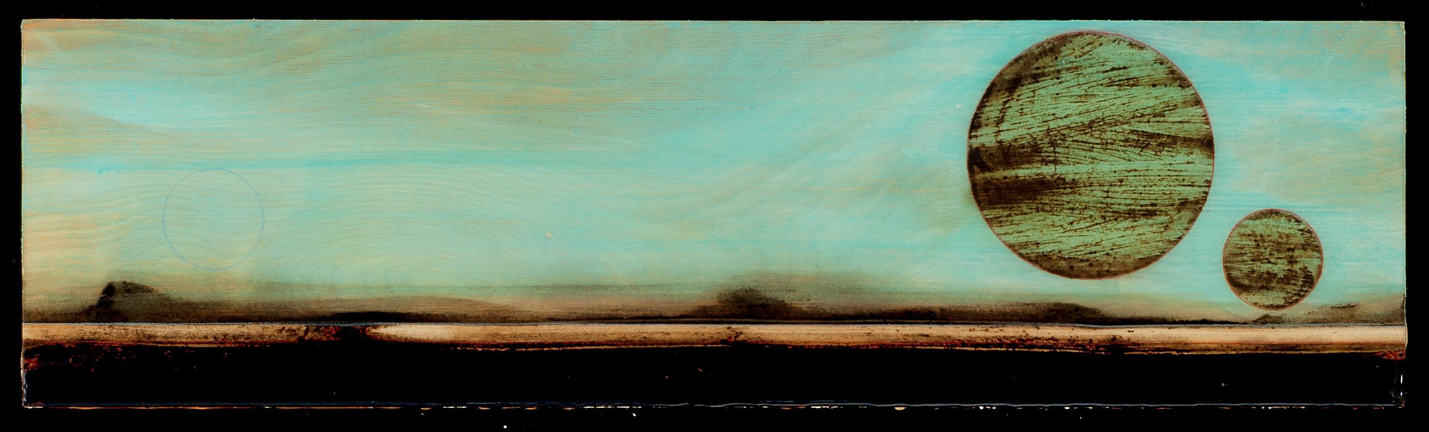 Marco Logsdon. Tar Landscape with Teal Blue Sky, 2014. Oil, Tar, Resin on Wood.