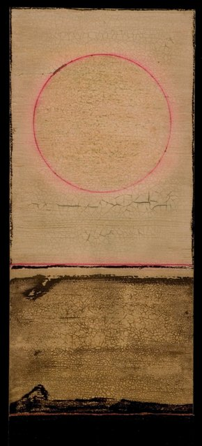wood - tar Lanscape with Pink Sky. 9 by 19 inches. web.jpg