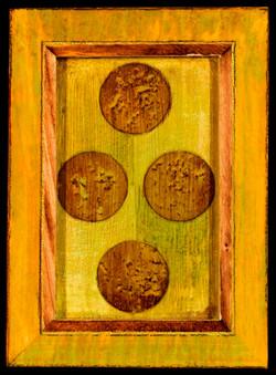 Marco Logsdon. 4 by 6. Green. 1. Oil, Tar, Pencil on Balsa Wood in Ikea Frame..j