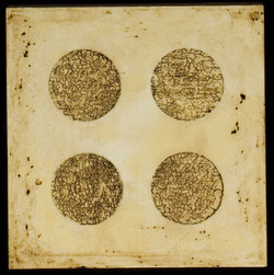 Marco Logsdon. Untitled 1608 c. Oil, Tar, Beeswax on Panel. 12 inches square..jp