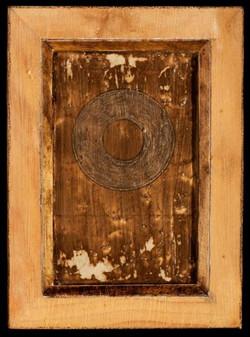 Marco Logsdon. 4 by 6. Brown. 1. Oil, Tar, Pencil on Balsa Wood in Ikea Frame..j
