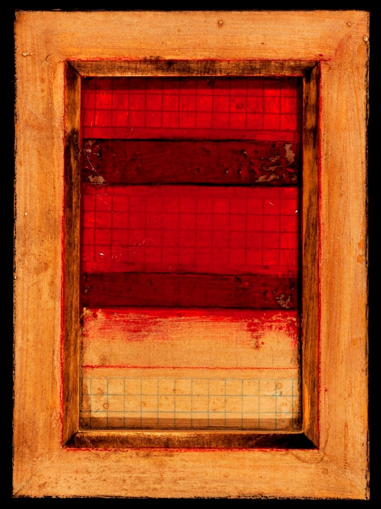 Marco Logsdon. 4 by 6. Red and White. 1. Oil and Tar on Balsa Wood and Index Car