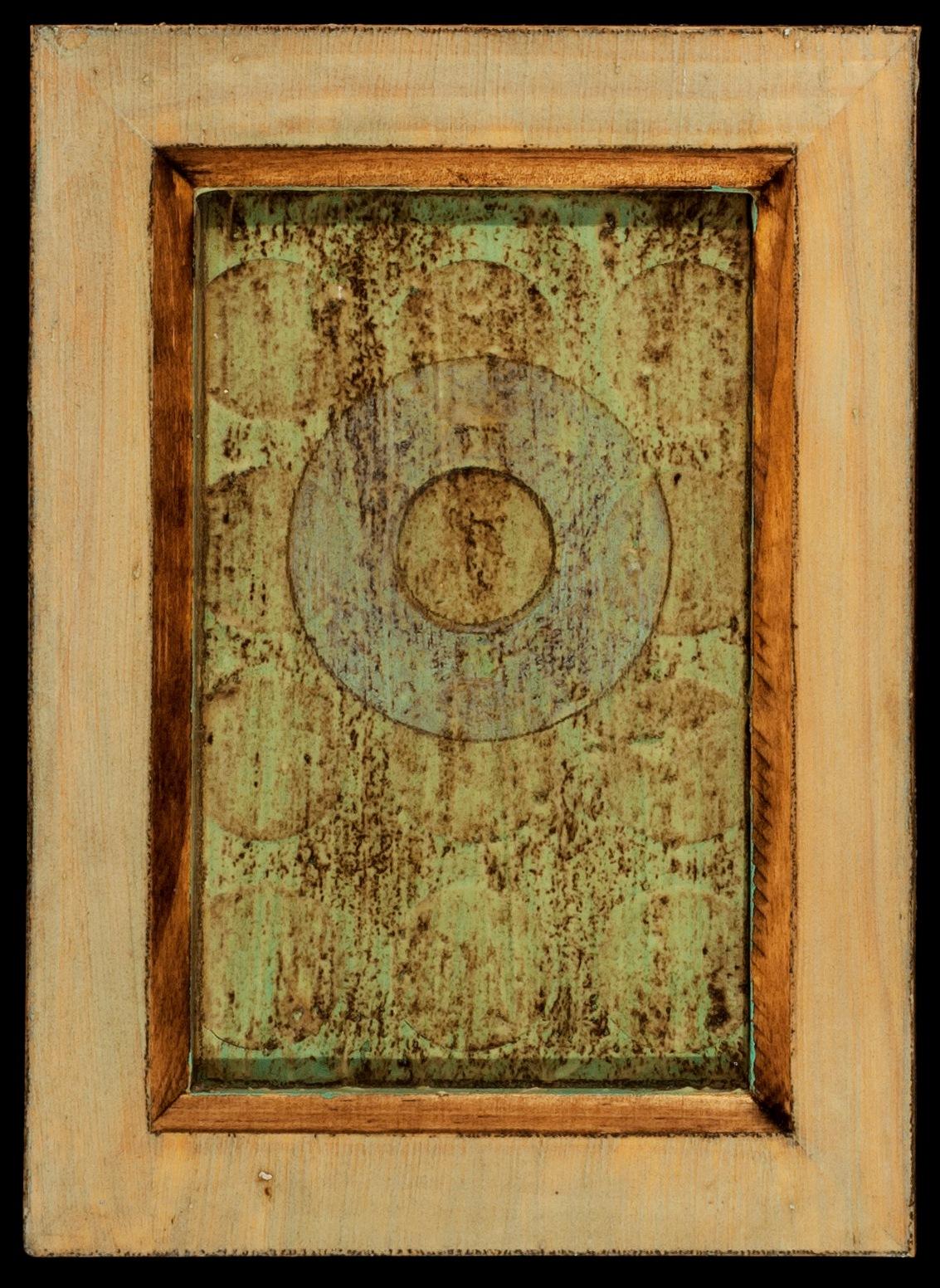 Marco Logsdon. 4 by 6. Blue. 2. Oil, Tar, Pencil on Balsa Wood in Ikea Frame..jp