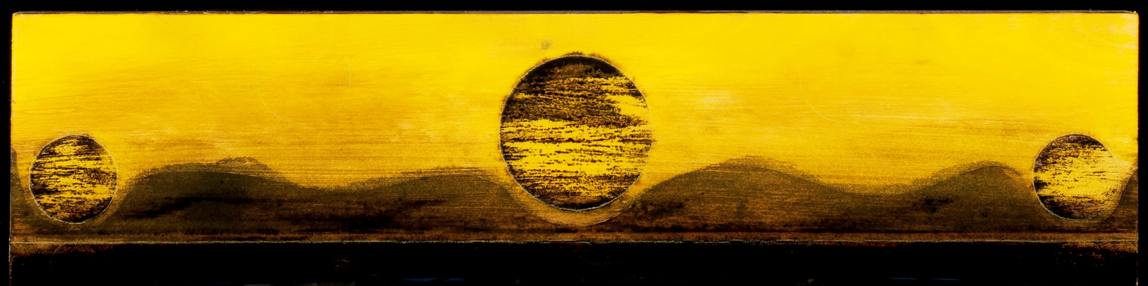 Marco Logsdon. Tar Landscape with Chartreuse Sky (3 Moons). Oil, Tar and Resin o