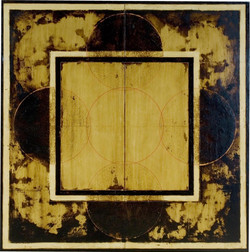 Untitled 2208 by Marco Logsdon. Oil, tar, beeswax on reclaimed wood panel.  49 i