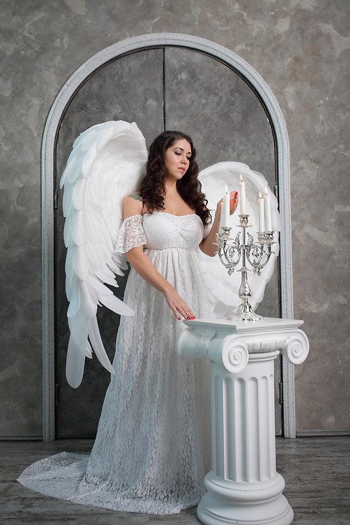 №49 платье белое с кружевом