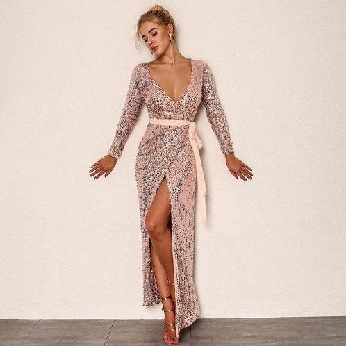 №53 платье золотистое с пайетками