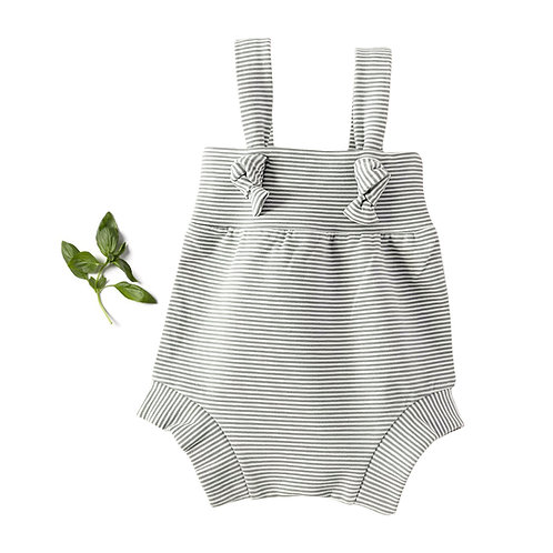 Basil Pinstripe Knotted Romper