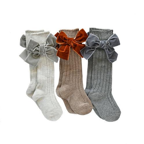 Velvet Bow Socks