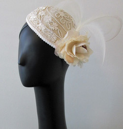 Beaded Rose Wedding Cocktail Hat