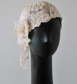 Ivory Lace Rose Bridal Hat
