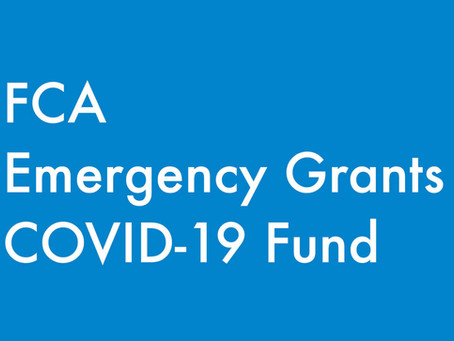 GRANT OPPORTUNITY: FCA Emergency Grants COVID-19 Fund