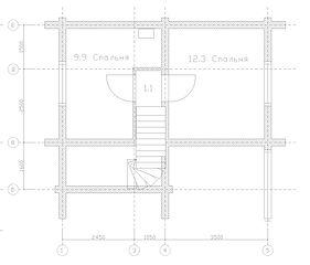 Строительство деревянных домов. Проект DD-65,8 Дом из оцилиндрованного бревна, Алтайского КЕДРА, Бруса