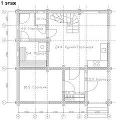Строительство деревянных домов и бань. Проект DB-111,5 Дом и Баня из оцилиндрованного бревна, Алтайского КЕДРА, Бруса