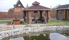 Строительство беседок, сооружений, кухонь и летних домов из оцилиндрованного бревна и бруса, проекты сооружений, бани под ключ