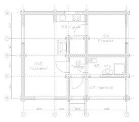 Строительство деревянных домов. Проект DD-50,3 Дом из оцилиндрованного бревна, Алтайского КЕДРА, Бруса