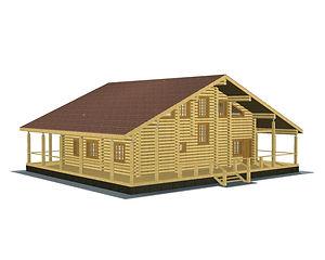 Строительство деревянных домов. Проект DD-303,5 Дом из оцилиндрованного бревна, Алтайского КЕДРА, Бруса