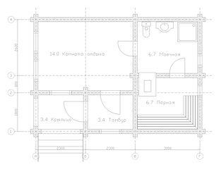 Строительство деревянных домов и бань. Проект DB-34,2 Дом и Баня из оцилиндрованного бревна, Алтайского КЕДРА, Бруса