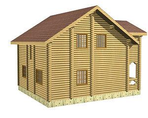 Строительство деревянных домов. Проект DD-117,4 Дом из оцилиндрованного бревна, Алтайского КЕДРА, Бруса