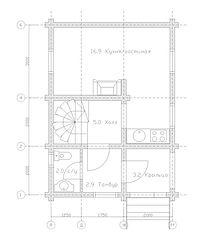 Строительство деревянных домов. Проект DD-56.9 Дом из оцилиндрованного бревна, Алтайского КЕДРА, Бруса