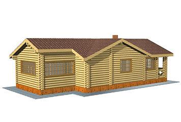 Строительство деревянных домов и бань. Проект DB-76,6 Дом и Баня из оцилиндрованного бревна, Алтайского КЕДРА, Бруса