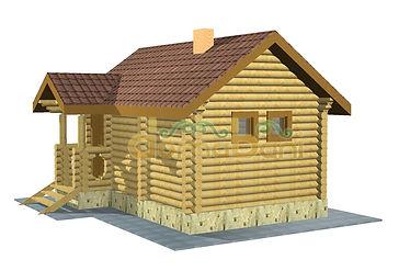 Строительство деревянных домов и бань. Проект DB-22,2 Дом и Баня из оцилиндрованного бревна, Алтайского КЕДРА, Бруса