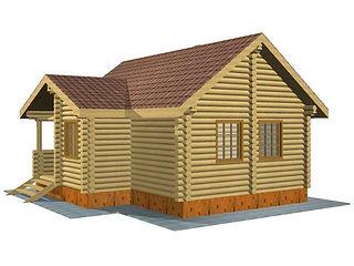 Строительство деревянных домов. Проект DD-41,2 Дом из оцилиндрованного бревна, Алтайского КЕДРА, Бруса