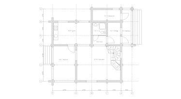 Строительство деревянных домов. Проект DD-142 Дом из оцилиндрованного бревна, Алтайского КЕДРА, Бруса