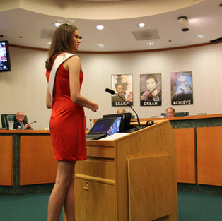 Speaking to the Manatee County School Board about the importance of volunteering