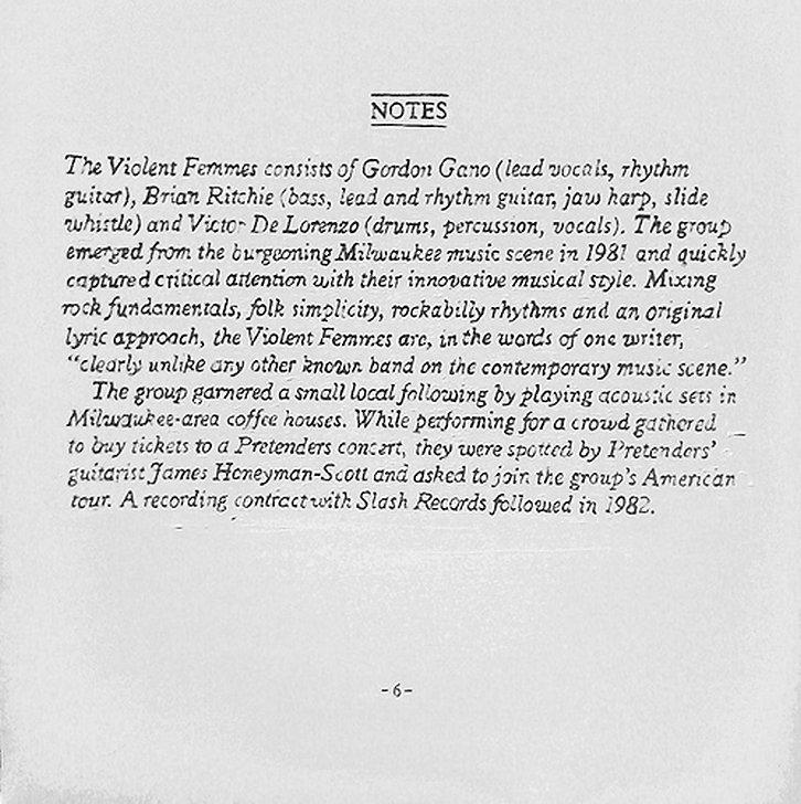 Notes on the Violent Femmes, 100 X 100 c