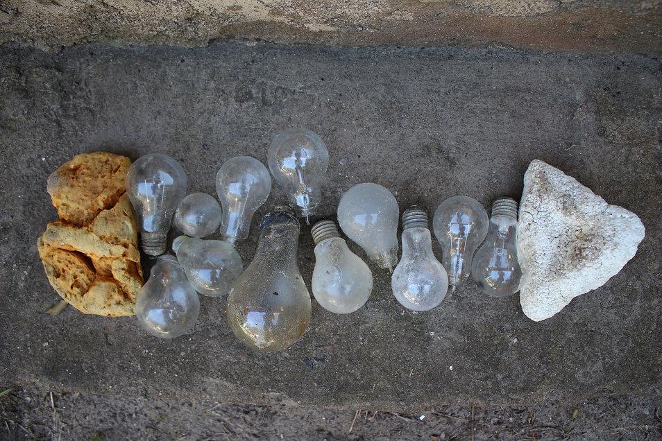 intact old lamps, foam, styrofoam found