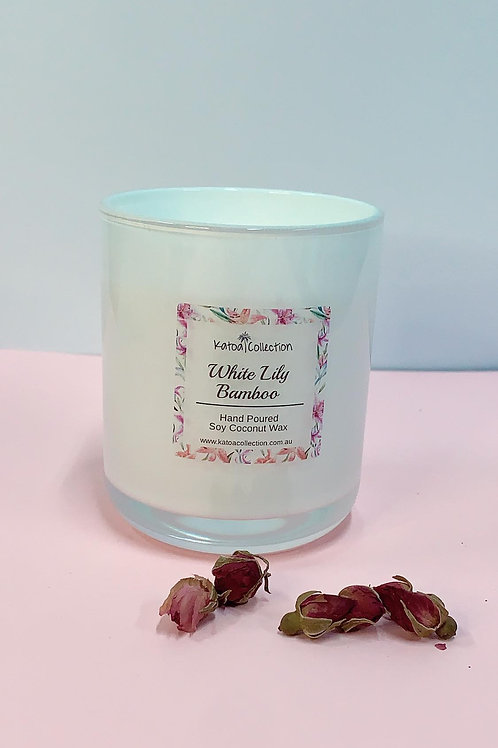 White Lily bamboo candle LARGE