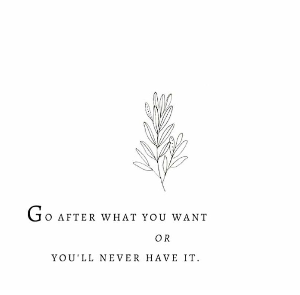 go after what you want, or you'll never have it
