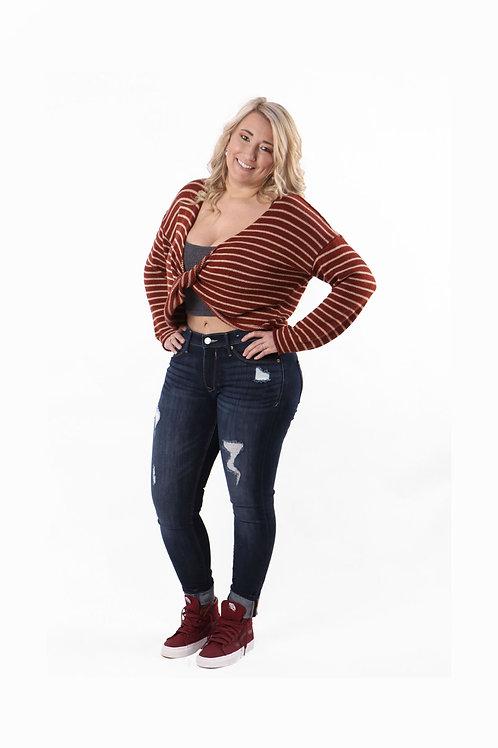 XXI orange/off white long sleeve sweater top size sm