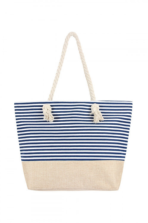 Blue and white strip with tan bottom tote (perfect for a beach bag)