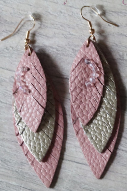 Beautiful Pink with gray LEATHER TEARDROP LIGHTWEIGHT DANGLE with sparkles