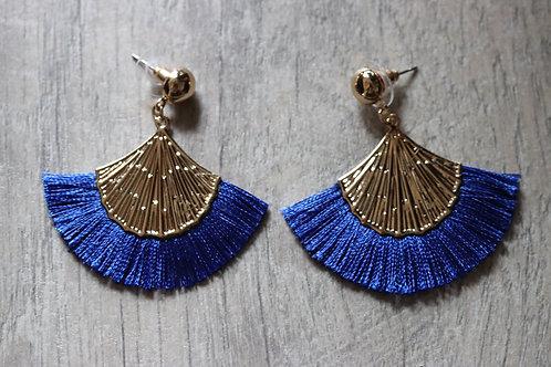 Cleopatra fan earrings in ocean blue with gold tones findings