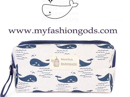 Whale makeup bag