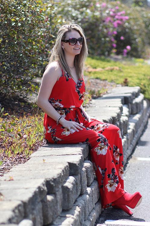 Stella Tweed beautiful floral print wide leg jumpsuit size med