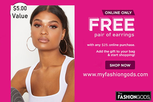 FREE earrings with any order over $25.00