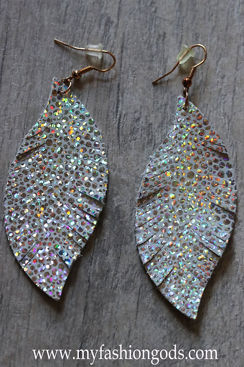 Beautiful silver LEATHER TEARDROP LIGHTWEIGHT DANGLE with sparkles