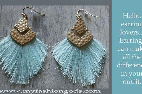 Teal blue fan earrings with gold tones findings
