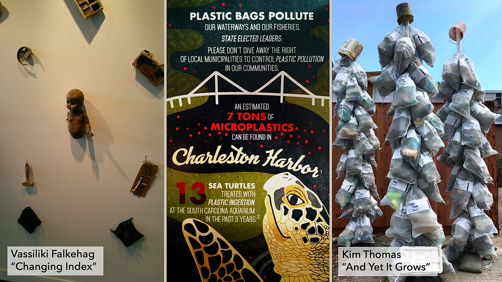 Found art exhibits by local Charleston, SC artists and a infographic for reducing plastic pollution in Charleston Harbor