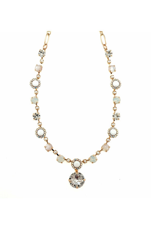 Necklace plated with 24K Rose Gold Swarovski Crystals & Semiprecious Stones