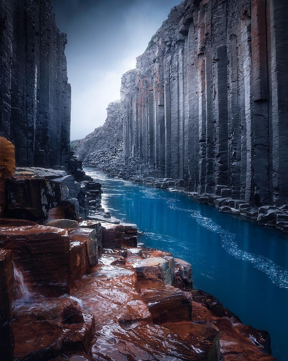 En foreløpig relativt ukjent, men veldig vakker basaltstein canyon øst på Island.