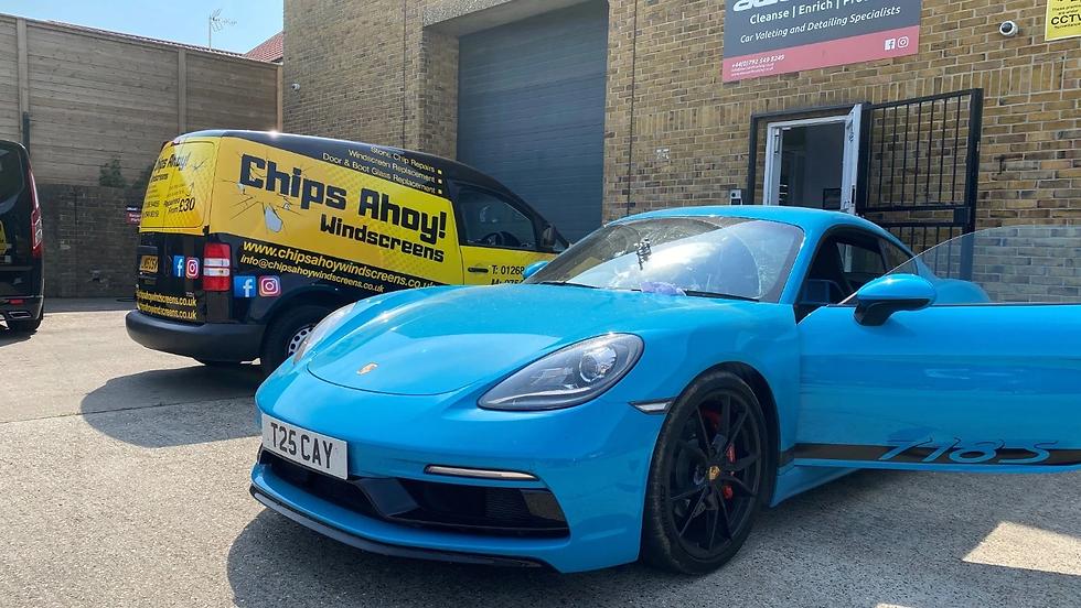 Chips Ahoy Windscreens Van Doing Repair On Porsche.webp