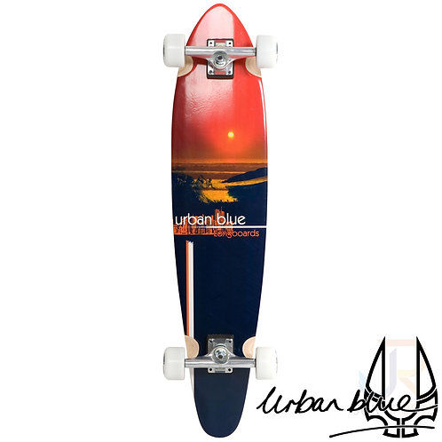 "Urban Blue - 38"" Kicktail Longboard - Urban Sunset"