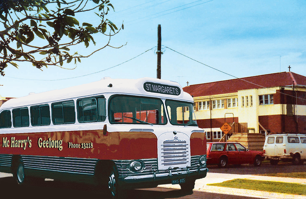 Picture of 1959 McHarrys Bus parked out the front of St Margaret's Primary School
